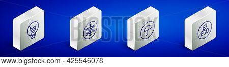 Set Isometric Line Delicate Wash, Snowflake, Delivery Package With Umbrella And Leaf Eco Symbol Icon