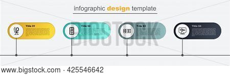 Set Line Plane, Airline Ticket, Mobile With And Airplane Seat. Business Infographic Template. Vector