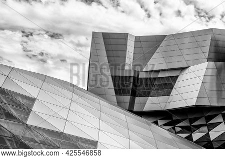 Aalborg, Denmark - 7 June, 2021: Black And White Detail View Of The Iconic House Of Music In Aalborg