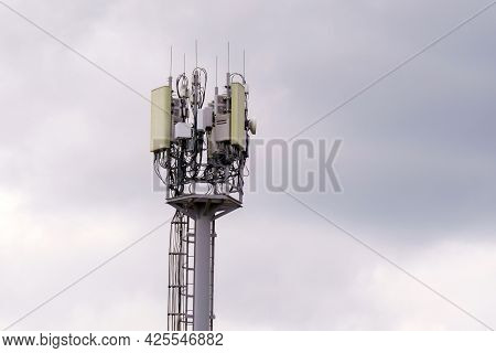 Telecommunication Towers. A 4 G Or 5 G Wireless Communication Transceiver. Selective Focus