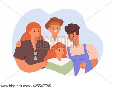 Happy Family Portrait With Parents And Children. Smiling Mother, Father, Son And Daughter. Brother A