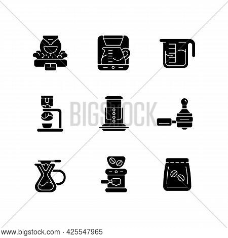 Coffee Shop Appliance Black Glyph Icons Set On White Space. Professional Roaster For Processing Bean