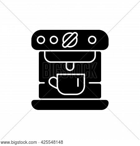 Espresso Machine Black Glyph Icon. Commercial Appliance For Cafe. Professional Coffee Maker Device W