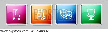 Set Line Armchair, Sedative Pills, Comedy And Tragedy Masks And . Colorful Square Button. Vector