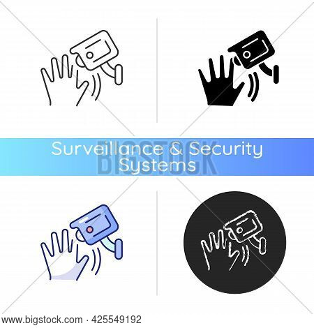 Motion Detection Camera Icon. Security Control. Detecting Human Movement. Sensitivity Level. Motion