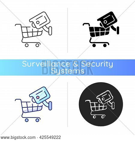 Tracking Customers With Surveillance Camera Icon. Shoplifting Prevention. Protecting Staff Against R