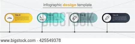 Set Line Longboard Or Skateboard, Skateboard, Park And . Business Infographic Template. Vector
