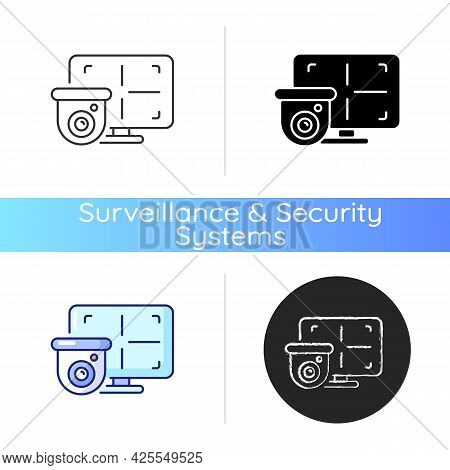 Cctv Monitor Icon. Device For Surveillance Video In Real-time Display. Converting Signal Into Visual
