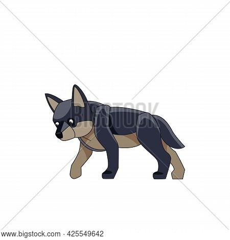 Wolf Cub Is Looking For Prey. Cartoon Character Of A Dangerous Mammal Animal. A Wild Forest Creature