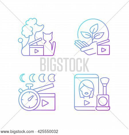 Video Online Gradient Linear Vector Icons Set. Pet Animal Footage. Environmental Awareness. Time Lap