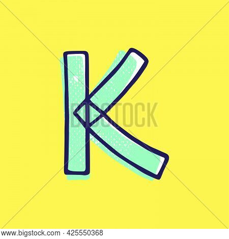 Kid Style Letter K Logo Hand-drawn With A Marker With Paint Shift Effect. Vector Cartoon Typeface Fo