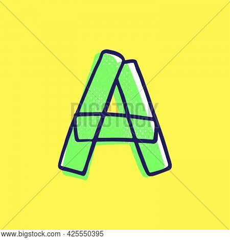 Kid Style Letter A Logo Hand-drawn With A Marker With Paint Shift Effect. Vector Cartoon Typeface Fo