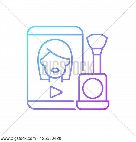 Make Up Tutorial Videos Gradient Linear Vector Icon. Beauty Vlog. Online Creator On Women Style. Bea