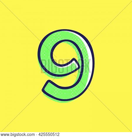 Kid Style Number Nine Logo Hand-drawn With A Marker With Paint Shift Effect. Vector Cartoon Typeface