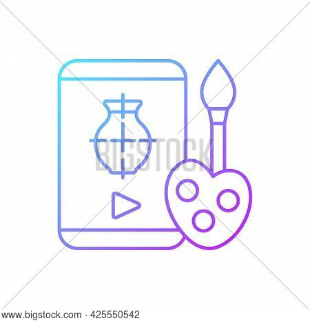 Drawing Tutorials Gradient Linear Vector Icon. Art Class. E Learning For Painting. School For Studyi