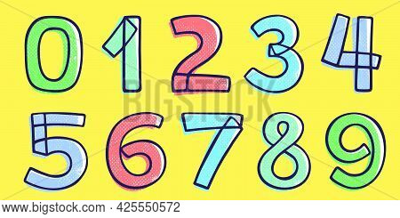 Kid Style Numbers Set Hand-drawn With A Marker With Paint Shift Effect. Vector Cartoon Typeface For