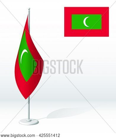 Maldives Flag On Flagpole For Registration Of Solemn Event, Meeting Foreign Guests. National Indepen