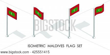 Isometric Flag Of Maldives In Static Position And In Motion On Flagpole. 3d Vector