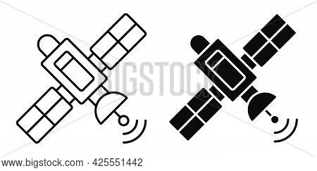 Linear Icon. Satellite Fly And Transmit Communication Signal. Satellite Communication And Gps Naviga