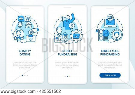 Fundraiser Appeal For Funds Onboarding Mobile App Page Screen. Street Fundraising Walkthrough 3 Step