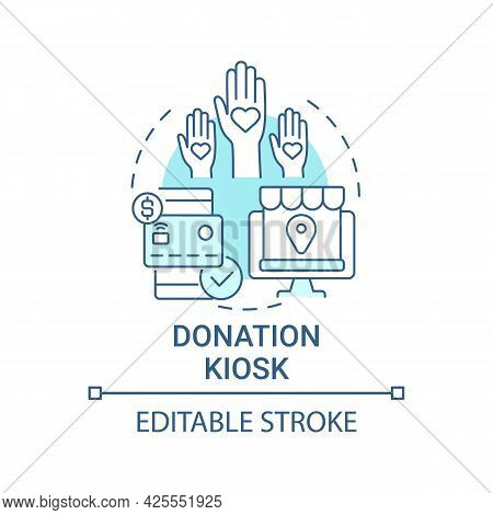 Donation Kiosk Concept Icon. Fundraising Event Abstract Idea Thin Line Illustration. Credit Cards Us
