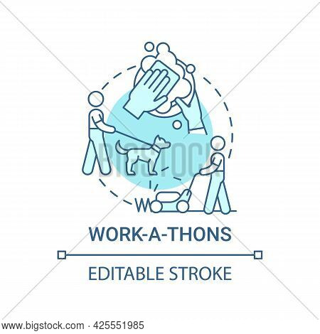 Work-a-thons Fundraiser Concept Icon. Fundraising Appeal Abstract Idea Thin Line Illustration. Commu