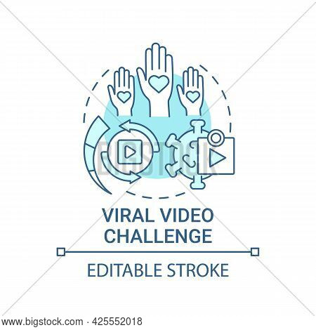 Viral Video Challenge Concept Icon. Fundraising Appeal Abstract Idea Thin Line Illustration. Raising