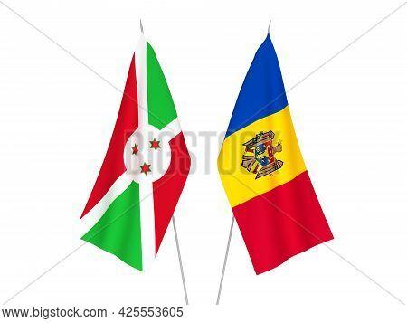 National Fabric Flags Of Burundi And Moldova Isolated On White Background. 3d Rendering Illustration