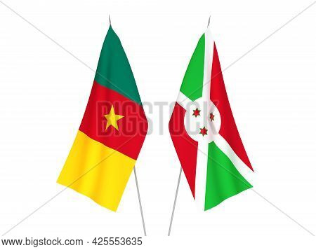 National Fabric Flags Of Burundi And Cameroon Isolated On White Background. 3d Rendering Illustratio