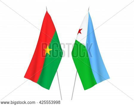National Fabric Flags Of Burkina Faso And Republic Of Djibouti Isolated On White Background. 3d Rend
