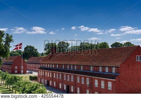 Copenhagen, Denmark - 13 June, 2021: View Of The Military Barracks In The Citadel In The Center Of C