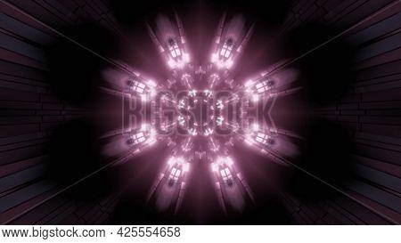 Tunnel With Neon Illumination 4k Uhd 3d Illustration