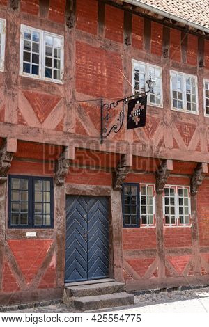 Koge, Denmark - 12 June, 2021- View Of The Historic Red Half-timbered Hosue And Koge Museum In The H