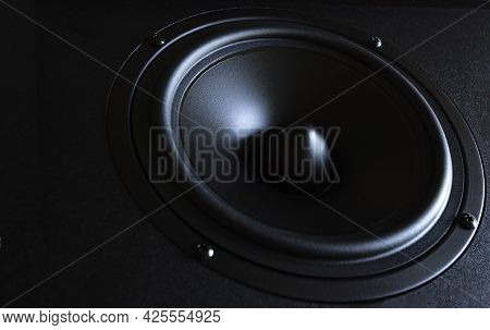 Two Speakers, Close-up Photo, High-quality Speaker System With Music Beams Of Different Colors, Ster
