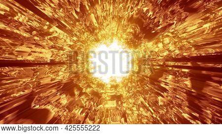 Tunnel With Golden Flash 4k Uhd 3d Illustration