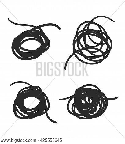 Hand Drawn Line Knots. Black Tangled Shapes On White. Freehand Lines. Black And White Illustration