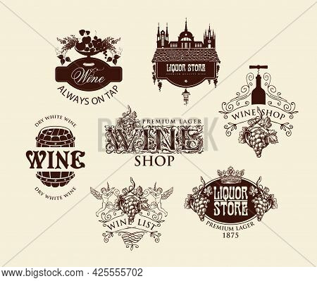 Set Of Logos, Emblems, Labels, Badges, Stickers For A Wine Shop Or Liquor Store. Vector Wine Tags Wi