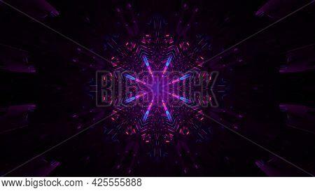 Dark Tunnel With Neon Illumination 4k Uhd 3d Illustration