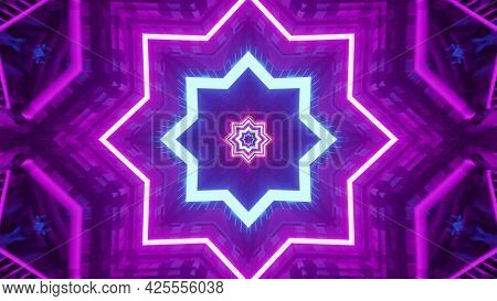 4k Uhd 3d Illustration Of Neon Star Shaped Ornament