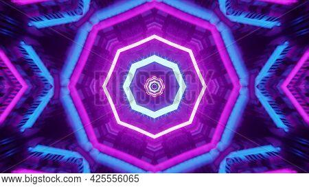 Octagon Shaped Neon Ornament 4k Uhd 3d Illustration