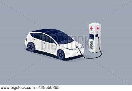 Isometric Electric Car Charging Parking At The Charger Station With A Plug In Cable. Isolated Flat V