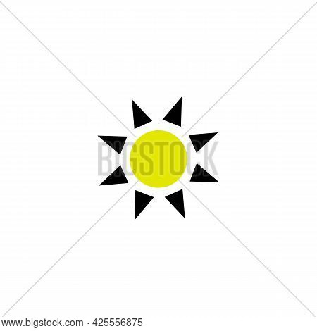 Brightness Control Line Icon In Yellow And Black. Trendy Flat Isolated Symbol, Sign Used For: Illust