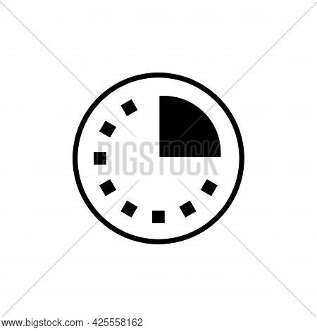 Clock, Hour Or Time Pie Black Line Icon. Business. Flat Isolated Symbol, Sign Can Be Used For: Illus