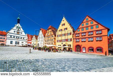 Rothenburg Ob Der Tauber, Germany - June 2021. Main Square (marktplatz Or Market Square) Of Medieval