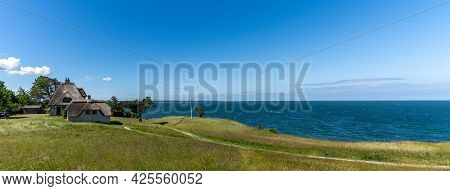 Hundested, Denmark - 15 June, 2021: Panorama View Of The Home Of Knud Rasmussen And Shoreline In Nor