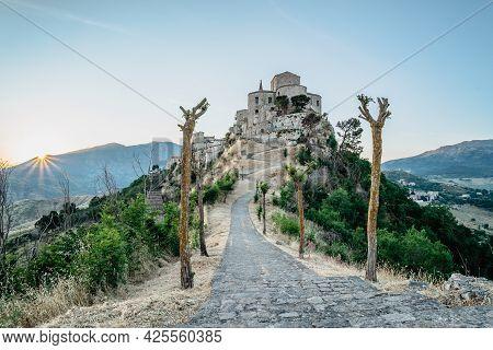 Stone Village Of Petralia Soprana,the Highest Village In Madonie Mountain Range,sicily,italy.church