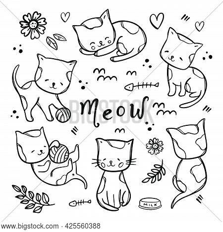 Coloring Page Kitties Cute Cats Babies Sleep And Play With Ball Among Flowers Monochrome Cartoon Han
