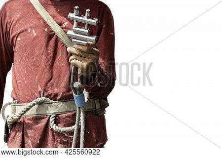 Closeup Construction Workers Hand Holding Steel Hooks Connecting With Rope Safety Device Equipment.