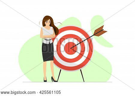Successful Contented Businesswoman Stand With Target And Arrow Hit Center. Woman Achieving Her Busin