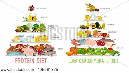 Protein Low Carb Diet. Isolated Vector Illustration